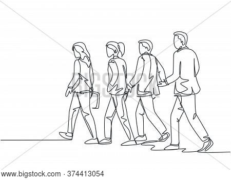 One Continuous Line Drawing Of Group Urban Male And Female Commuters Walking Every Day On City Road
