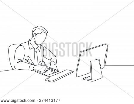 One Continuous Line Drawing Of Young Pensive Businessman Writing On A Sheet Of Paper And Staring At