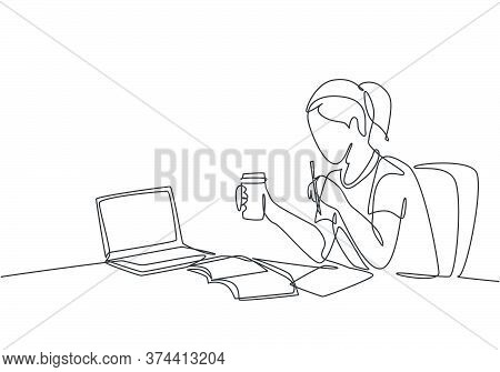 One Single Line Drawing Of Young Serious Female Employee Sitting Pensively On Her Work Chair While S