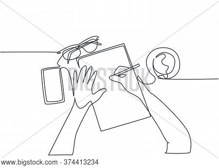 One Continuous Line Drawing Of Hand Writing Gesture On A Piece Of Paper Beside Glasses, Smartphone A
