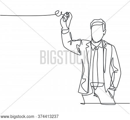 One Continuous Line Drawing Of Young Happy Male Manager Gives Short Briefing And Writes It Down At G