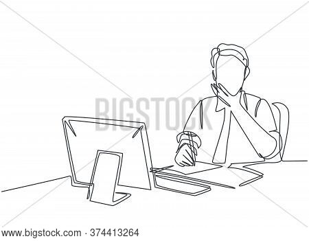 One Single Line Drawing Of Young Pensive Businessman Sitting And Watching Computer Screen To Analyze
