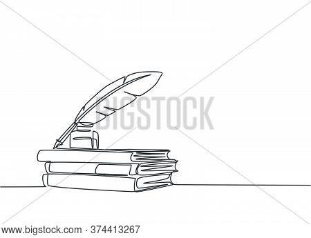 One Continuous Line Drawing Of Stack Of Books, Ink And Quill Pen On The Office Desk. Vintage Writing