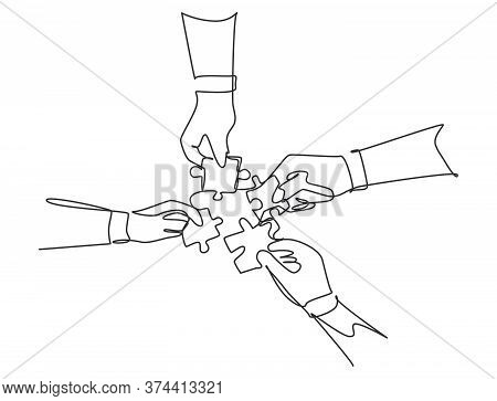 Single Continuous Line Drawing Of Business Team Members Unite Puzzle Pieces Together To One As Team