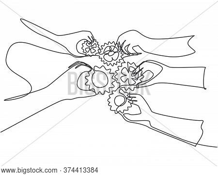 Single Continuous Line Drawing Of Hand Gesture Business Team Members Unite Piece Of Gears To One As