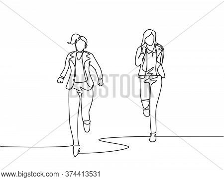 One Single Line Drawing Of Young Female Workers Try To Beat Each Others At Running Competition With