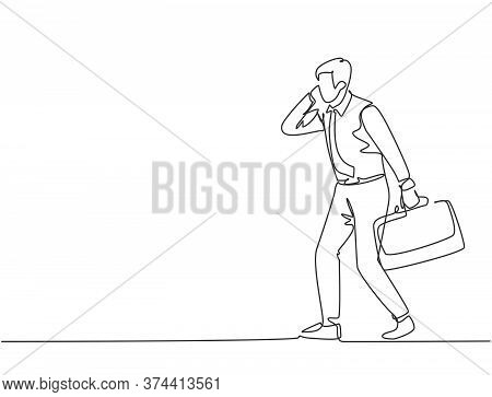 Single Continuous Single Line Drawing Of Urban Commuter Workers Running While Calling To Get To The
