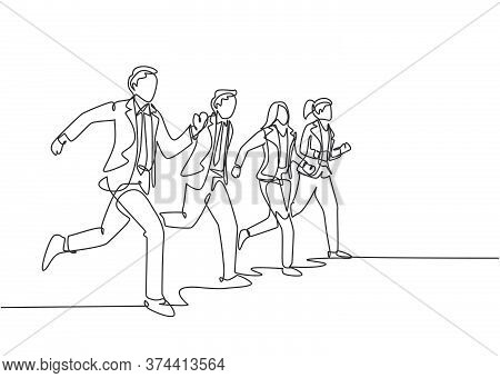 Single Continuous Single Line Drawing Group Of Urban Commuter Workers Walking And Running To Get To