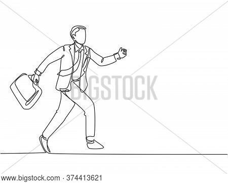Single Continuous Single Line Drawing Of Young Urban Commuter Worker Running In Rush At City Street
