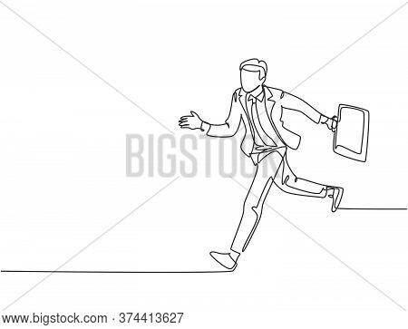 Single Continuous Single Line Drawing Of Young Urban Commuter Worker Running In Rush At City Road To