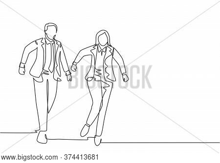 One Continuous Single Line Drawing Of Young Male And Female Manager Join Run Competition On Running