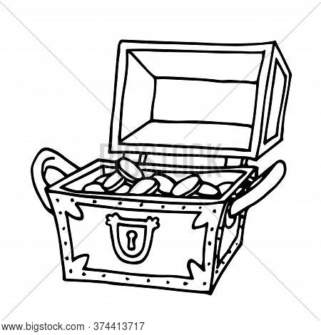 Opened Wooden Treasure Chest With Golden Coins, Pirate Trove, Symbol Of Fortune And Wealth, Vector I