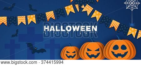 Halloween classic blue background with pumpkins and bats in paper style.Happy Halloween Halloween classic blue background with pumpkins and bats in paper style, 3D. Happy Halloween banner or party invitation background with clouds