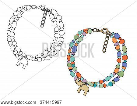 Handmade Jewelry In An Ethnic Style: A Bracelet With An Elephant-shaped Pendant. Vector Illustration