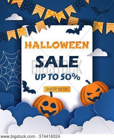 Halloween offer design template. Halloween Sale Promotion banner. Happy Halloween Halloween classic blue background with pumpkins and bats in paper style, 3D. Happy Halloween banner or party invitation background with clouds