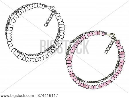 Handmade Jewelry: Bracelet With Pink Pearls. Vector Illustration Isolated On A White Background.