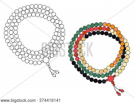 Handmade Jewelry: Rosary Made Of Colored Beads. Vector Illustration Isolated On A White Background.