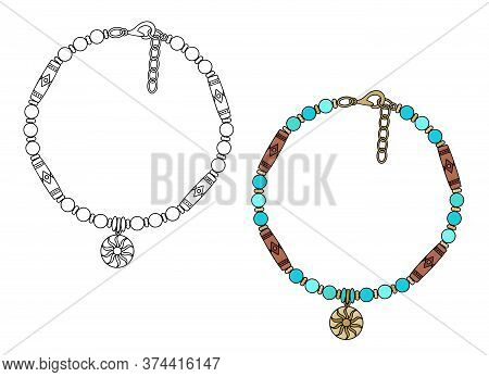 Handmade Jewelry In Ethnic Style: Amulet Bracelet With A Pendant Sun. Vector Illustration Isolated O