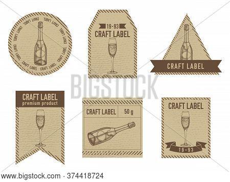 Craft Labels Vintage Design With Illustration Of Champagne, Glass Of Champagne Stock Illustration
