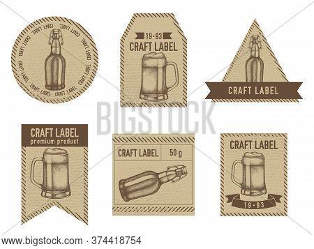 Craft Labels Vintage Design With Illustration Of Mug Of Beer, Bottles Of Beer Stock Illustration