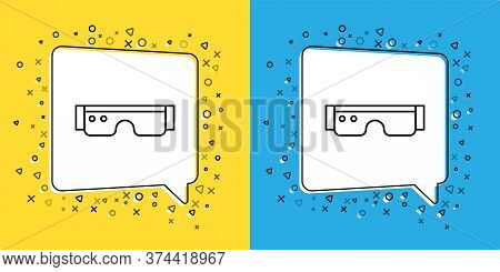 Set Line Smart Glasses Mounted On Spectacles Icon Isolated On Yellow And Blue Background. Wearable E