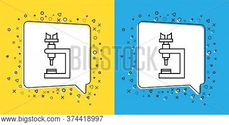 Set Line Microscope Icon Isolated On Yellow And Blue Background. Chemistry, Pharmaceutical Instrumen