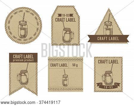 Craft Labels Vintage Design With Illustration Of Smothie Jars Stock Illustration