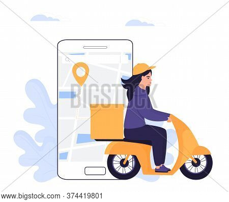 Courier Girl Delivers Parcel On A Motorcycle. Order Food Online.