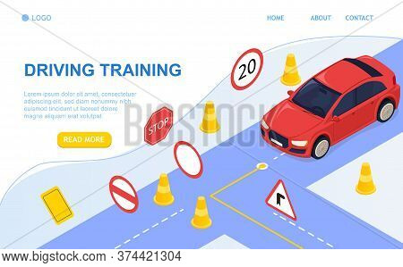 Driving School Concept And Training. Driving By The Rules. Study Of Road Signs And Car. Perfect For