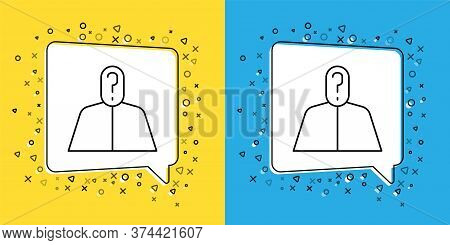 Set Line Anonymous Man With Question Mark Icon Isolated On Yellow And Blue Background. Unknown User,