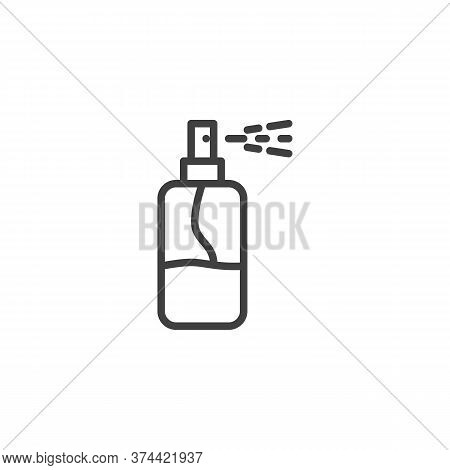 Hand Sanitizer Spray Line Icon. Linear Style Sign For Mobile Concept And Web Design. Antibacterial S