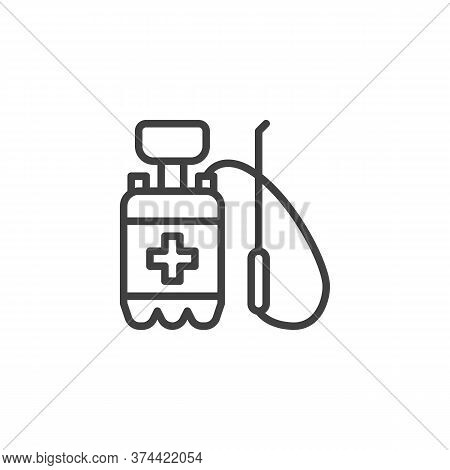 Disinfectant Canister Line Icon. Linear Style Sign For Mobile Concept And Web Design. Antibacterial