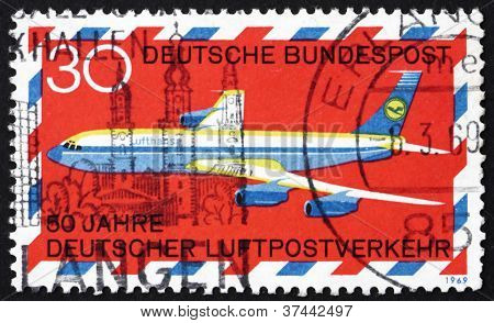 Postage stamp Germany 1969 Boeing 707