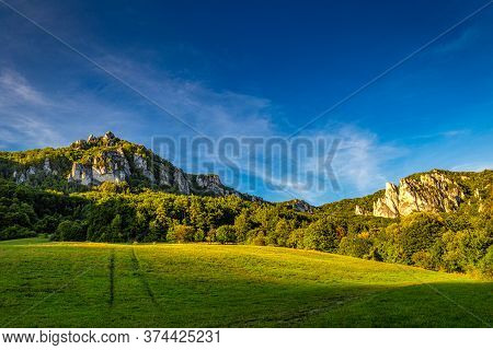 Mountain Landscape With Rocky Peaks On Background At Sunset In Summer Time. The National Nature Rese