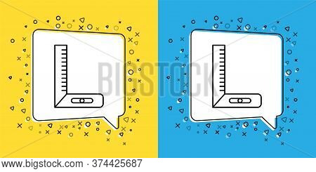Set Line Corner Ruler Icon Isolated On Yellow And Blue Background. Setsquare, Angle Ruler, Carpentry