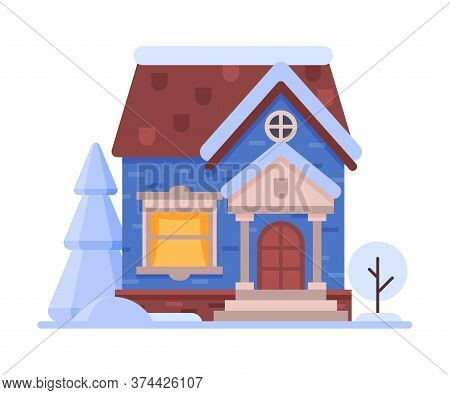 Snowy Suburban Wooden Cottage, Cute Rural Winter House, Timbered Cabin Vector Illustration