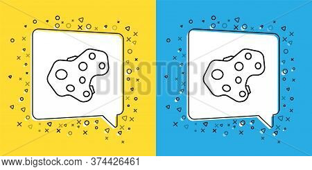 Set Line Asteroid Icon Isolated On Yellow And Blue Background. Vector Illustration