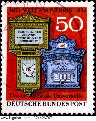 02 08 2020 Divnoe Stavropol Territory Russia The Germany Postage Stamp 1974 The 100th Anniversary Of
