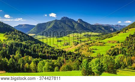 Mountainous Landscape With Rocky Peaks On Background At A Sunny Morning. The  Mala Fatra National Pa