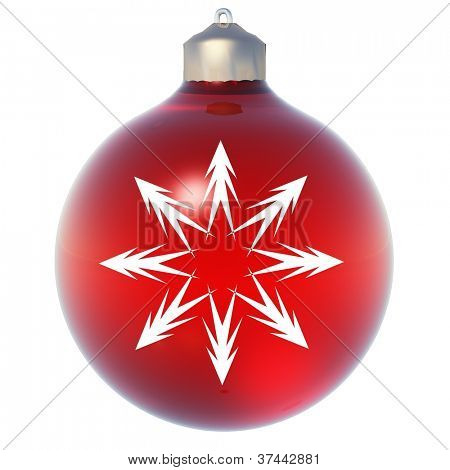 High resolution conceptual 3D red Christmas ornament with a snowflake as a star isolated on white background, ideal for holiday, religion and seasonal designs