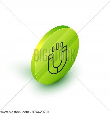 Isometric Line Magnet Icon Isolated On White Background. Horseshoe Magnet, Magnetism, Magnetize, Att