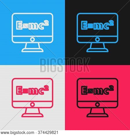 Pop Art Line Math System Of Equation Solution On Computer Monitor Icon Isolated On Color Background.