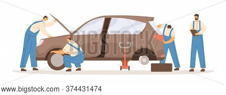 Group Of Male Mechanics Working At Car Repair Service Vector Flat Illustration. Professional Workman