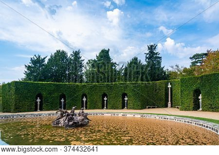 Versailles, France - August 27, 2019 : Part Of The Grand Trianon Garden Named The Amphitheatre. The