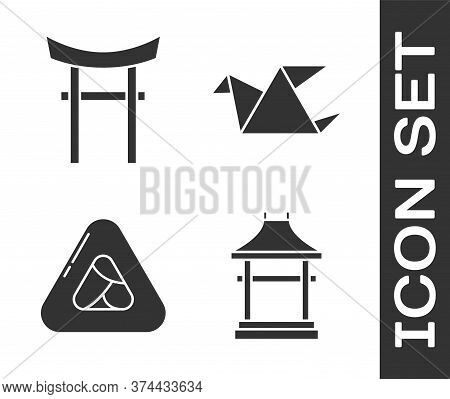 Set Japan Gate, Japan Gate, Sushi And Origami Bird Icon. Vector