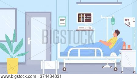 Male Patient Lying On Bed At Modern Intensive Therapy Room Vector Flat Illustration. Sick Man With D