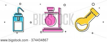 Set Laboratory Wash Bottle, Test Tube Flask On Stand And Test Tube And Flask Chemical Icon. Vector