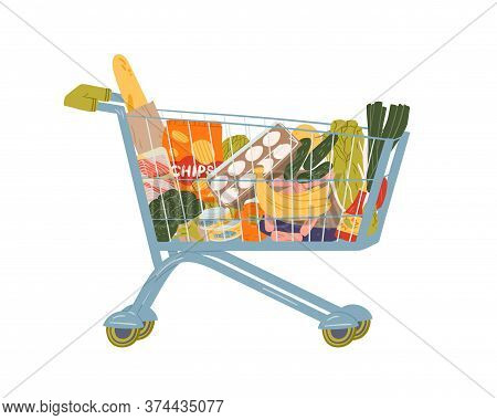 Shopping Cart Full Of Food And Drink Vector Flat Illustration. Grocery Trolley With Handle Filling B