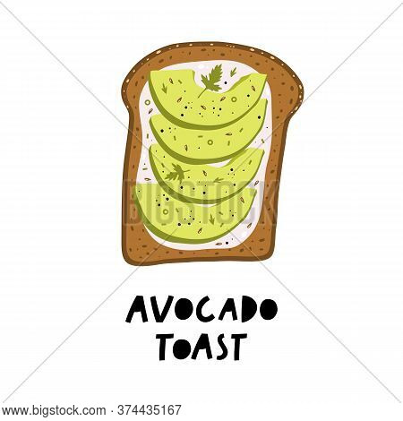 Avocado Toast. Fresh Toasted Bread With Slices Of Ripe Avocado.