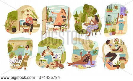 Set Of People Enjoying Slow Life Vector Flat Illustration. Collection Of Man And Woman Relaxing, Sur